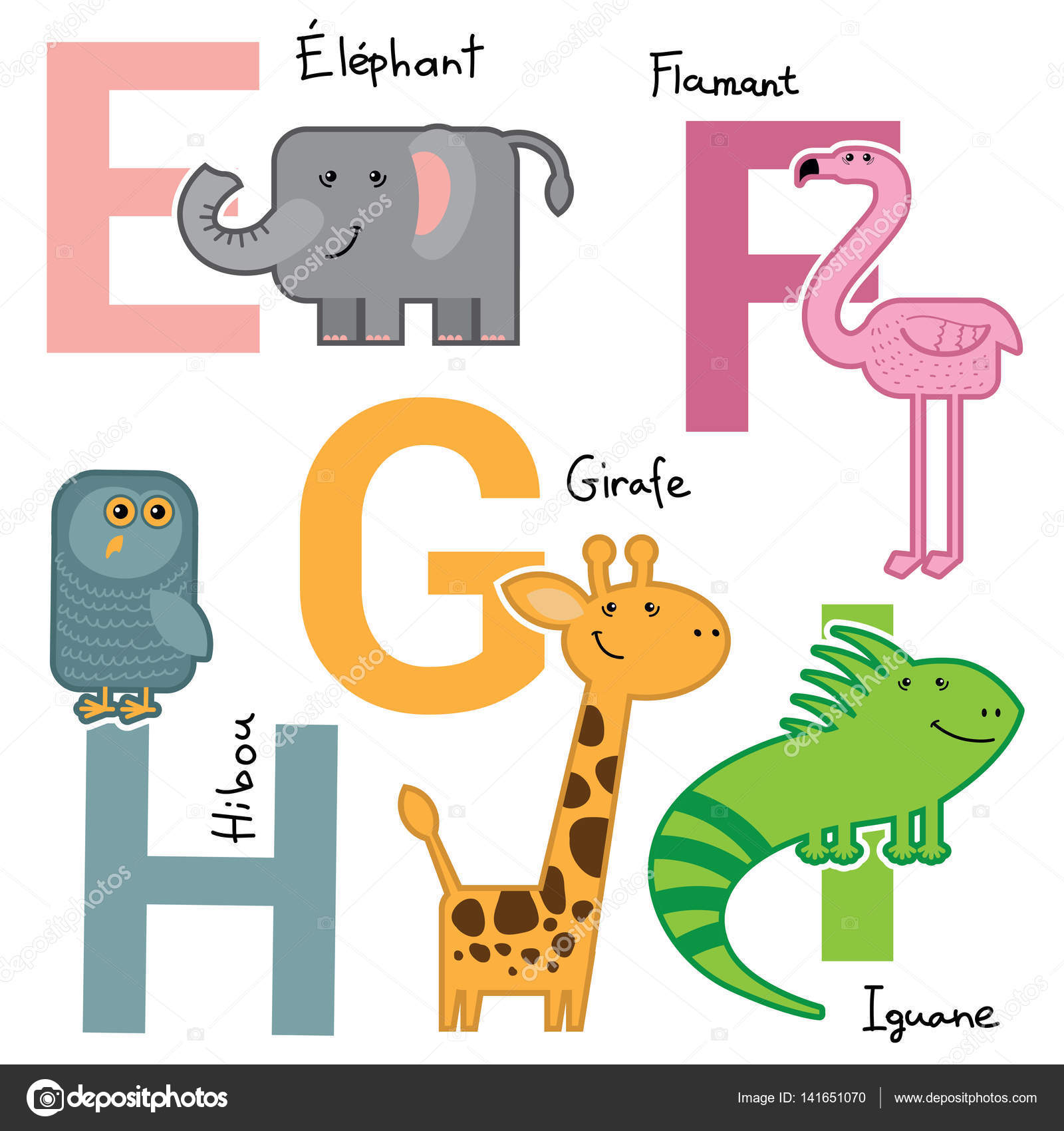 Vector Cartoon Zoo Farm French Alphabet Bright Big Letters