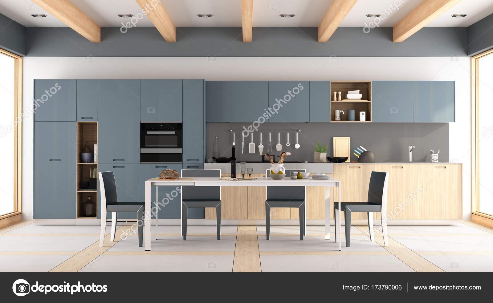 blue kitchen chairs curtain sets 现代木和蓝色厨房 图库照片 c archideaphoto 173790006 现代木和蓝色厨房与餐桌和椅子 3d 渲染 照片作者archideaphoto