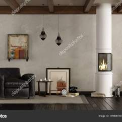 Images Of Living Rooms With Wood Burners Room Design Ideas Black Leather Sofa Retro Stove Stock Photo C Archideaphoto
