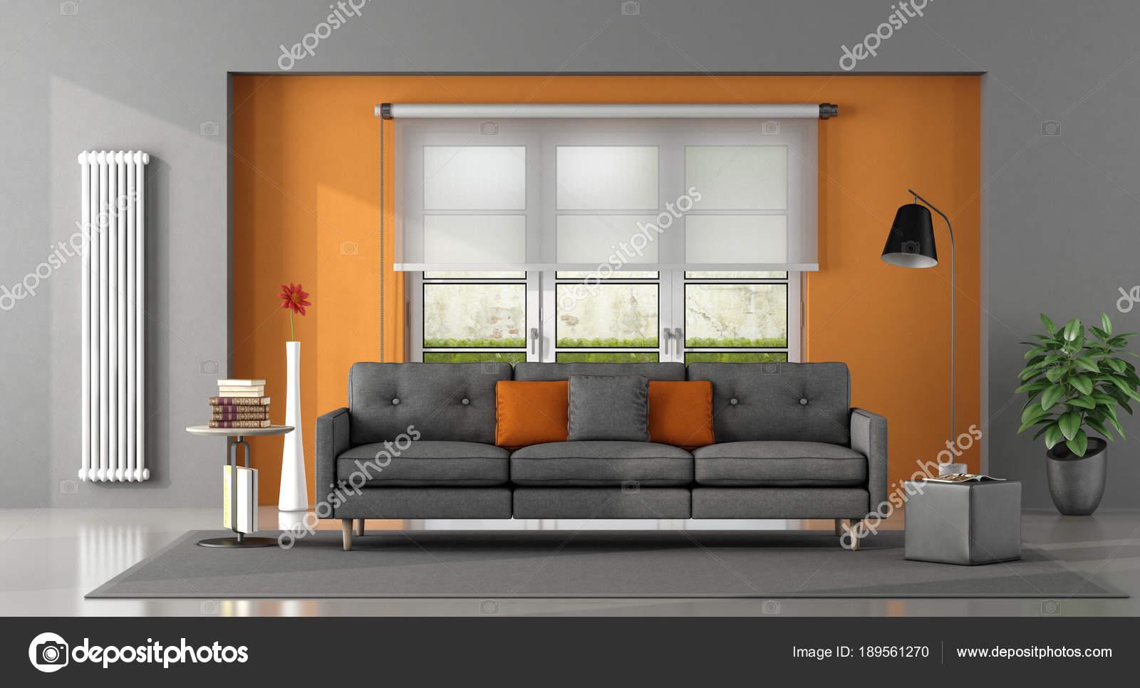 Salon gris y naranja  Saln naranja gris  Foto de stock