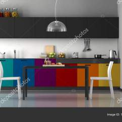Colorful Kitchen Chairs Aid Toaster Oven 多彩的现代厨房 图库照片 C Archideaphoto 194865628