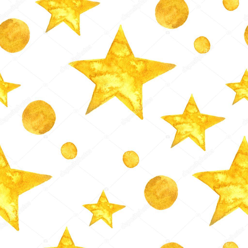 Yellow Watercolor Stars Background Seamless Pattern