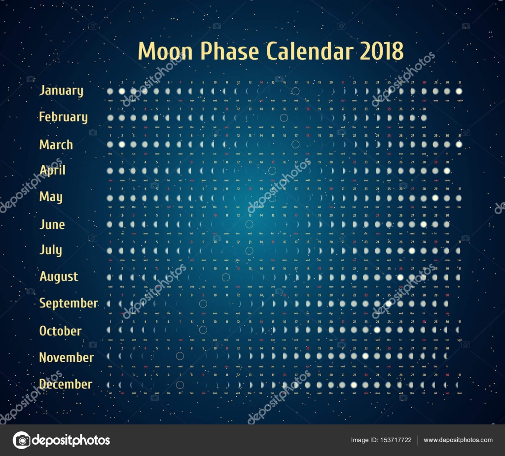 Vector Astrological Calendar For Moon Phase Calendar