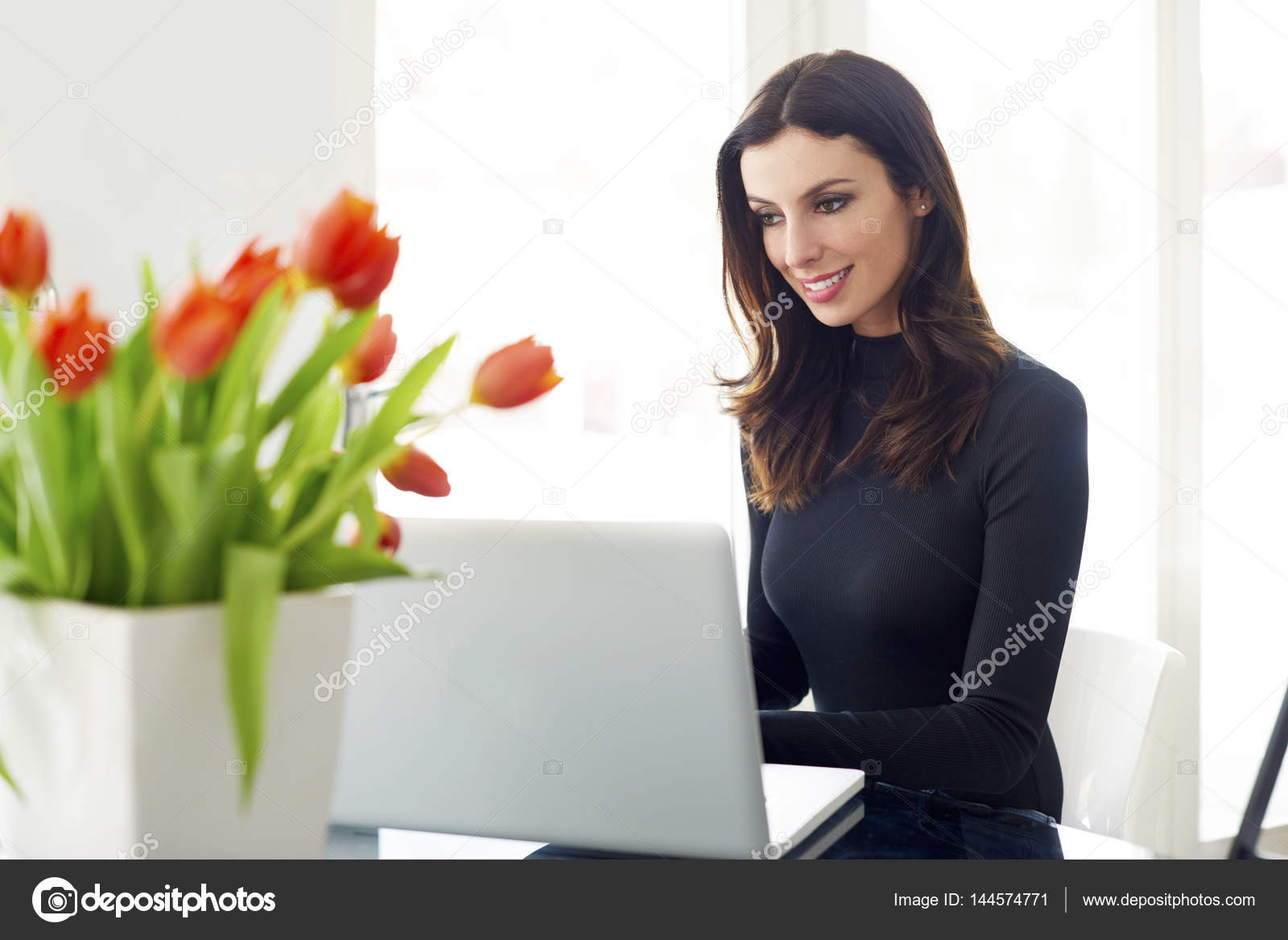 confident sales woman working