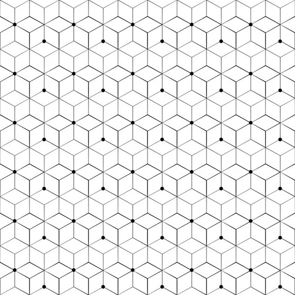 Grid seamless pattern. Geometric cube, Star effect