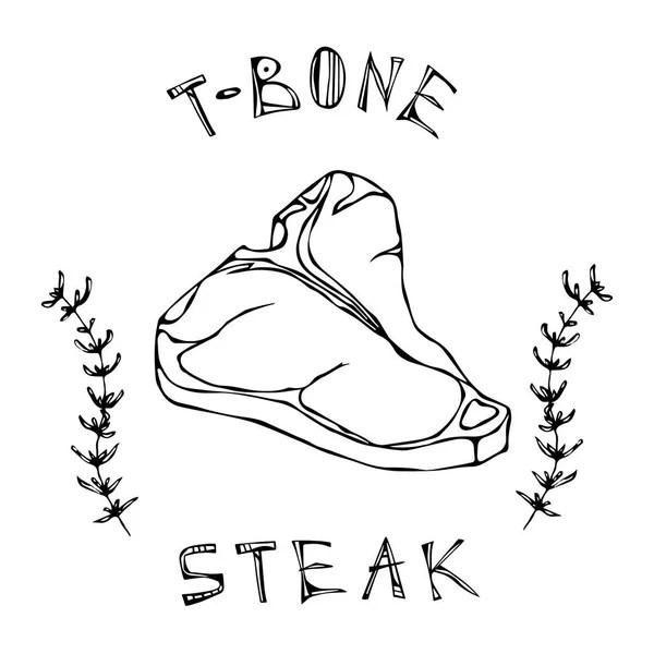Porterhouse Steak Cut Vector Isolated On White Background