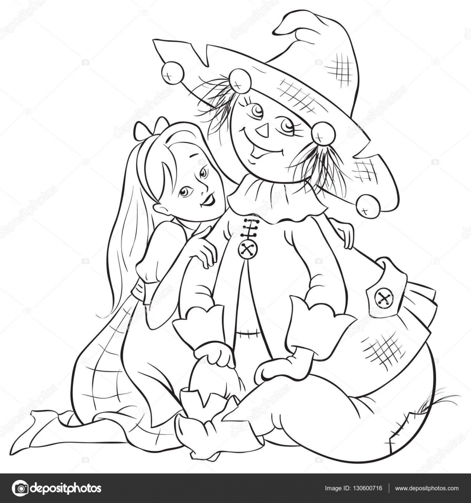 Dorothy and Scarecrow. Wizard of Oz coloring page — Stock