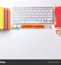 computer keyboard and stationery on white background flat lay workplace table composition stock image [ 1600 x 1167 Pixel ]