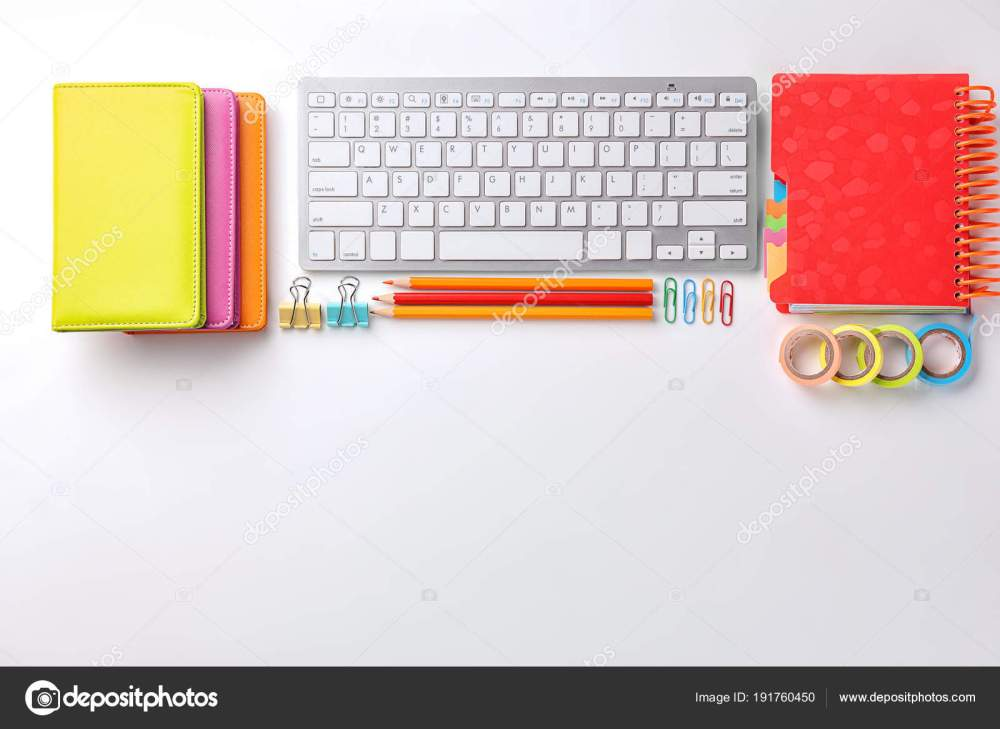 medium resolution of computer keyboard and stationery on white background flat lay workplace table composition stock image