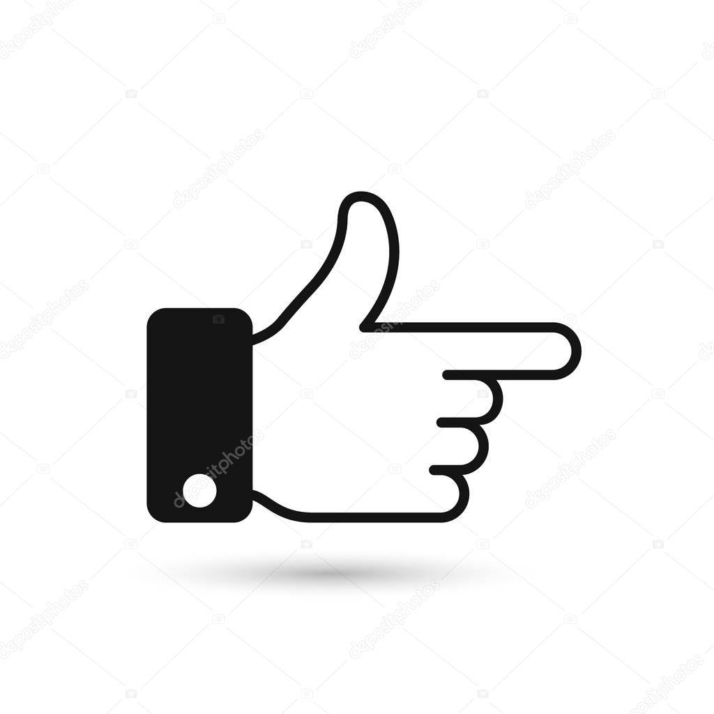 Icône de direction noir point doigt. Pictogramme homme main geste. Conception de plat style Vector illustration. Index direction de pointeur ...