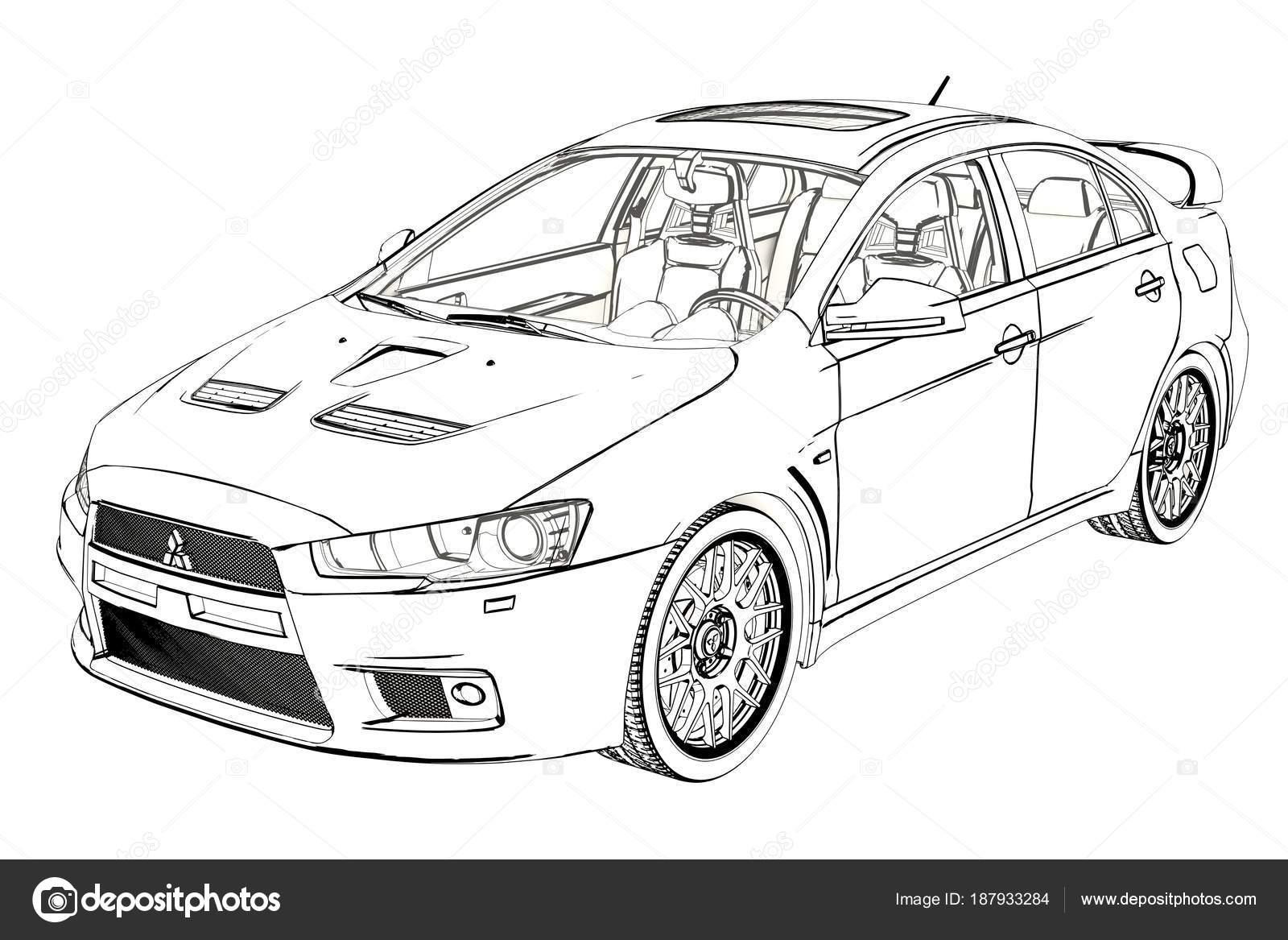 Berline Mitsubishi Evolution X croquis. illustration 3D