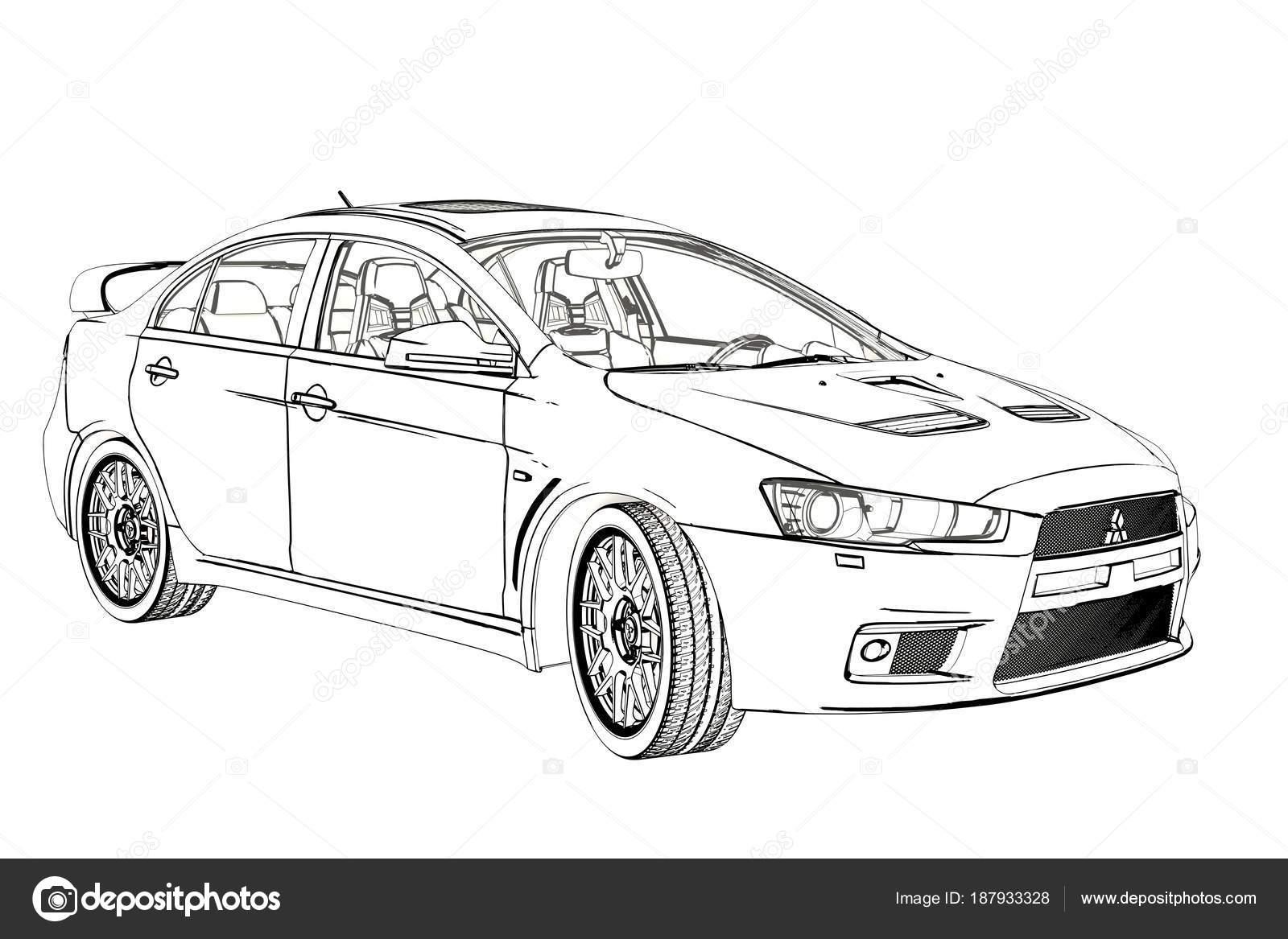 Náčrt aktivní zóny Mitsubishi Evolution X sedan. 3D
