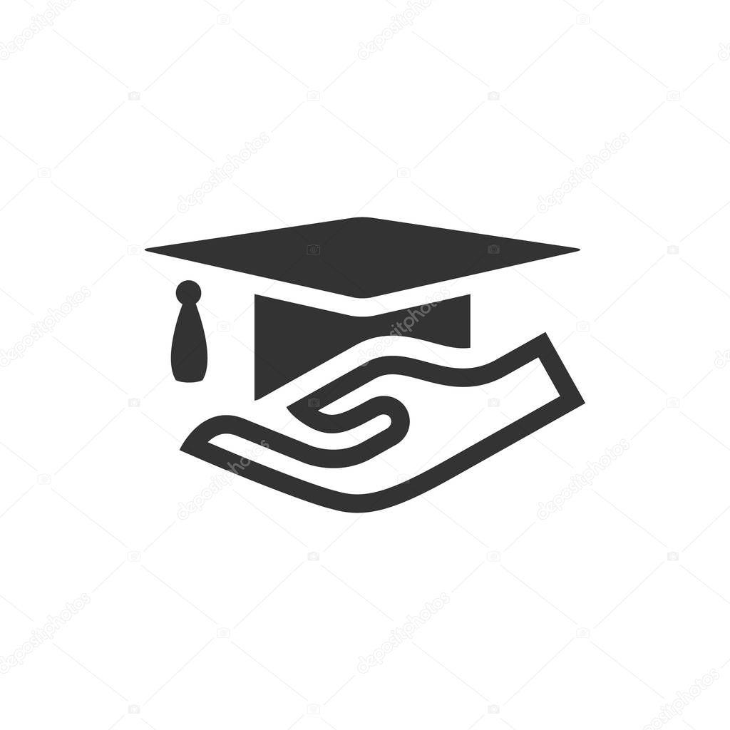 Mão segurando o ícone do diploma — Vetores de Stock