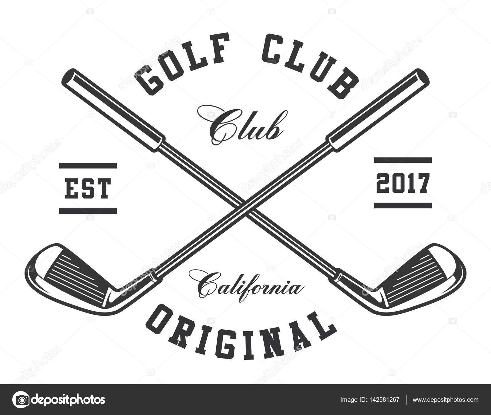 Monochrome Golf Clubs On White Background