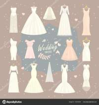 Wedding dresses vector set bride and bridesmaid white wear
