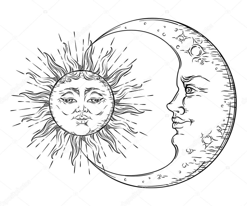 Hippie Art Sun And Moon