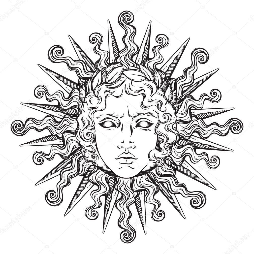 Sol Con Cara De Dios Griego Y Romano Apolo En Dibujado A