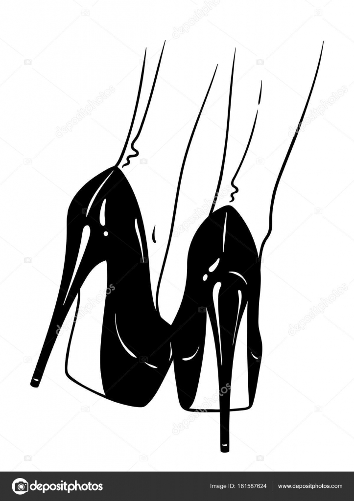 Hand drawn female legs in high heels and seamed stockings
