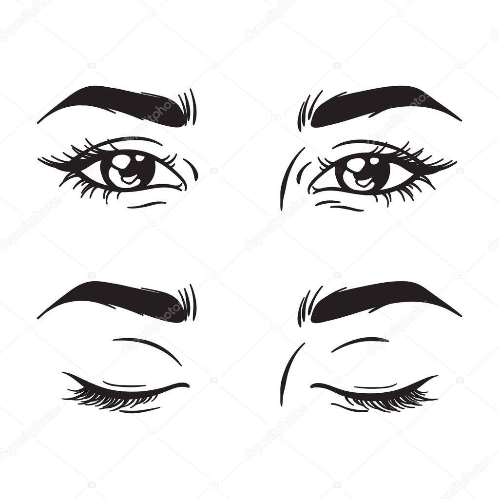 Ojos De Mujer Hermoso Blanco Y Negro Aislados Conjunto
