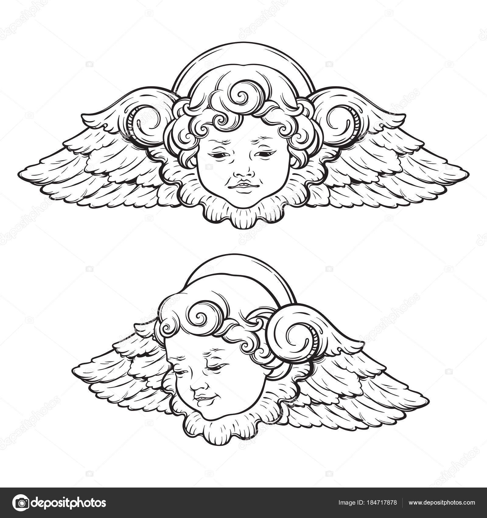 Cherub Cute Winged Curly Smiling Baby Boy Angel Set