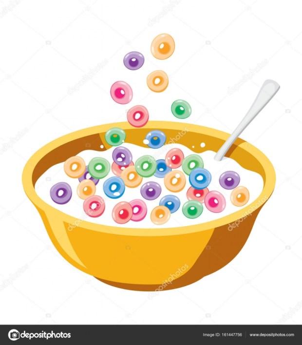 Cartoon Cereal Bowl with Milk