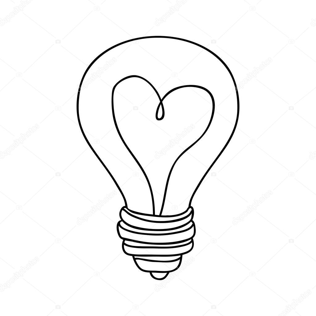 Silhouette Contour Bulb With Resistance In Shape Heart