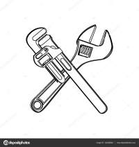 monochrome contour with crossed wrenches  Stock Vector ...