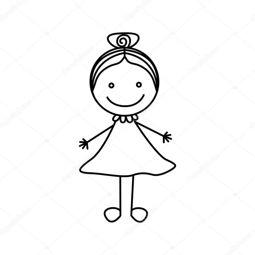 ragazza carina con i capelli raccolti dell'illustrazione