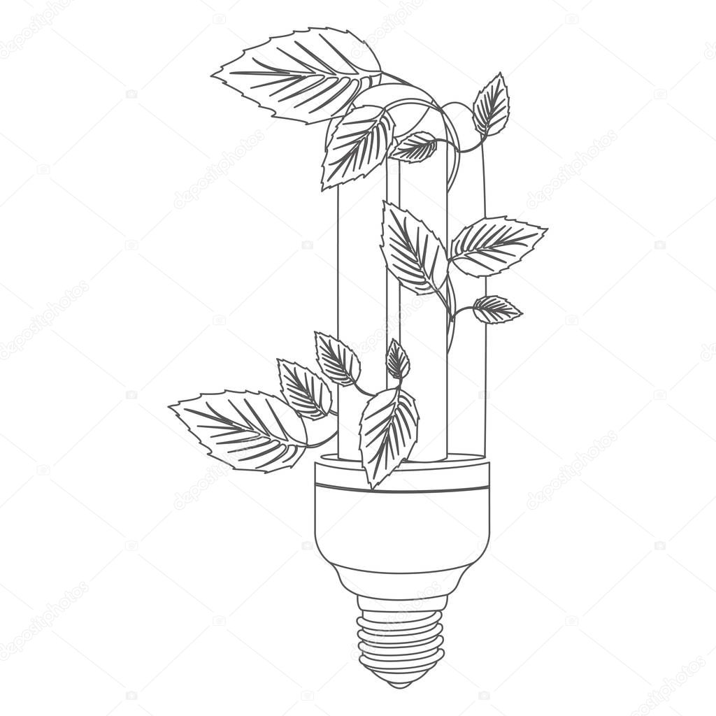 Grayscale Contour With Fluorescent Bulb And Creeper Plant