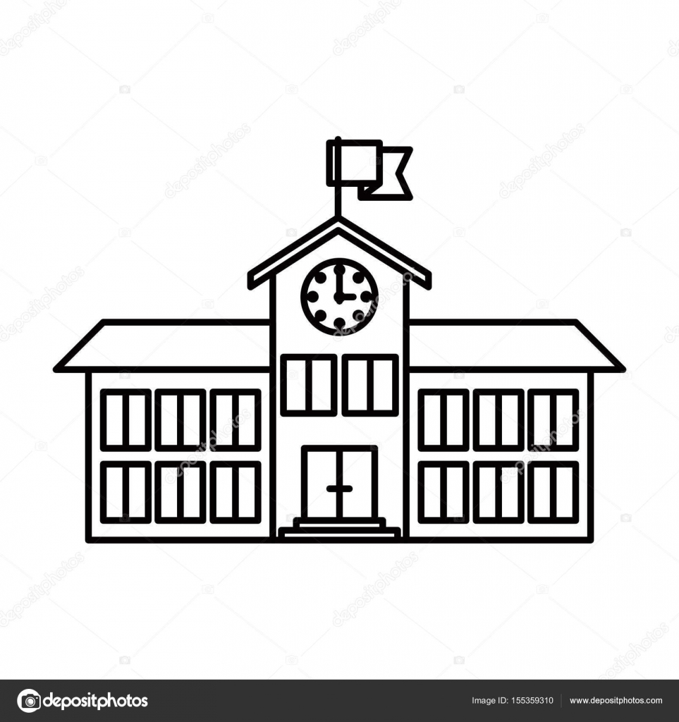 sketch silhouette image high school structure with clock