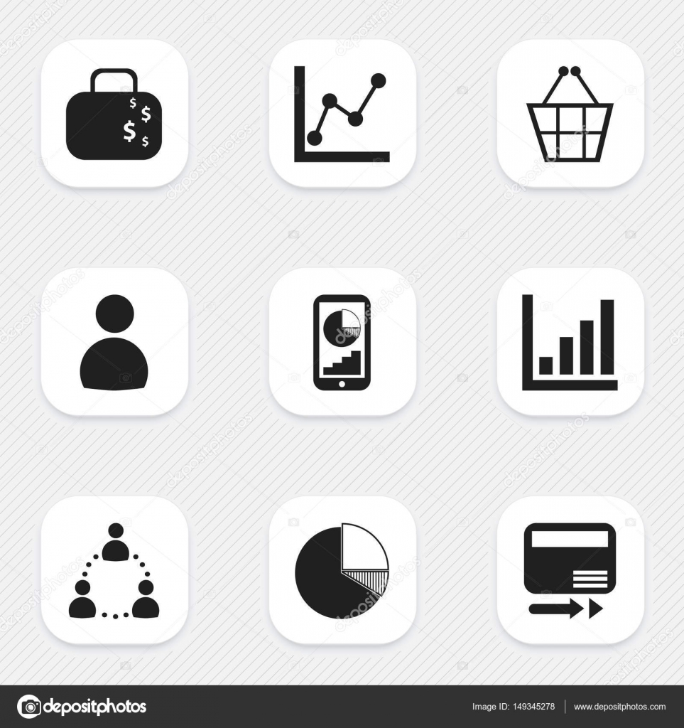 Set Of 9 Editable Statistic Icons. Includes Symbols Such