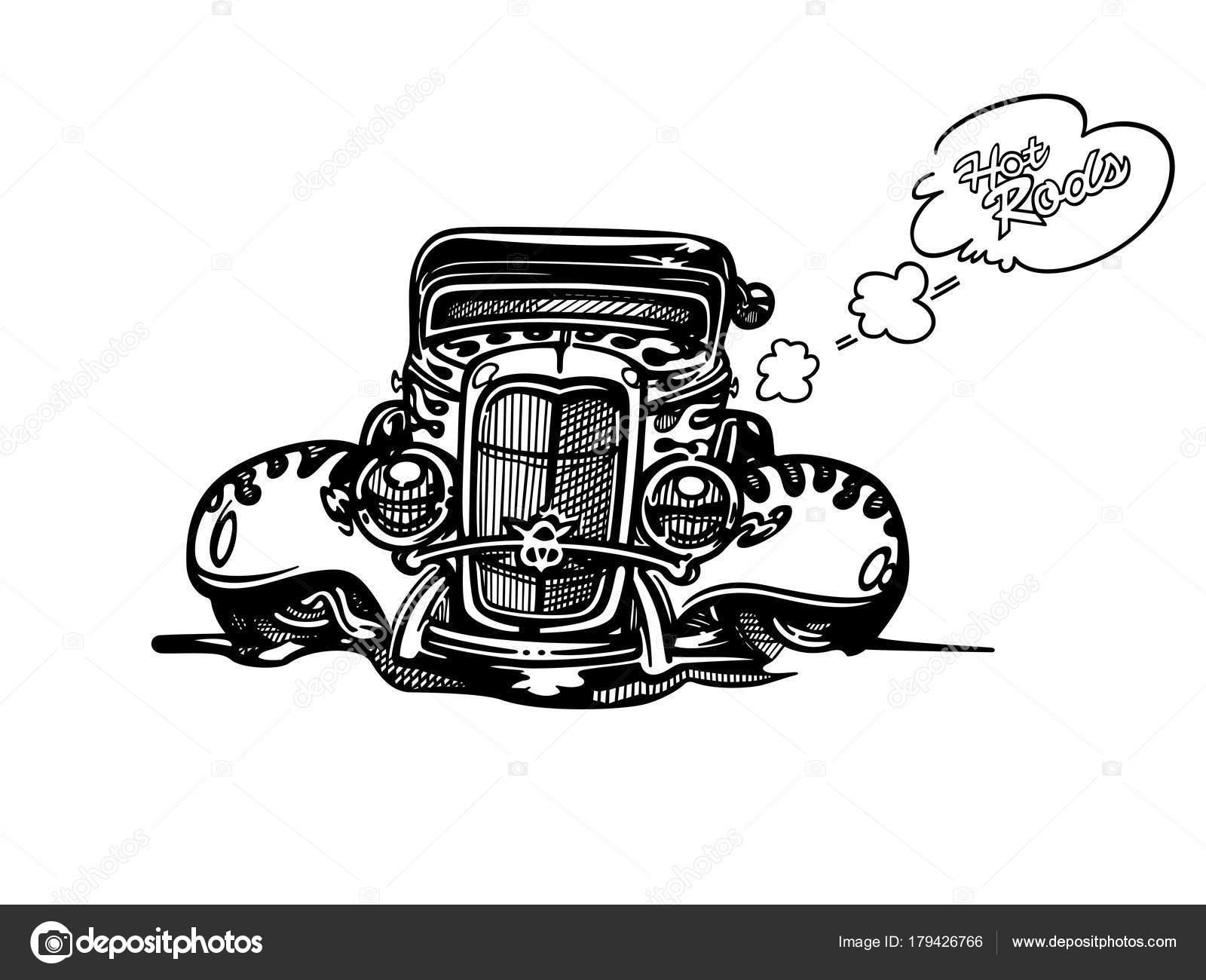Vector Retro Hotrod Voiture Clipart Cartoon Illustration