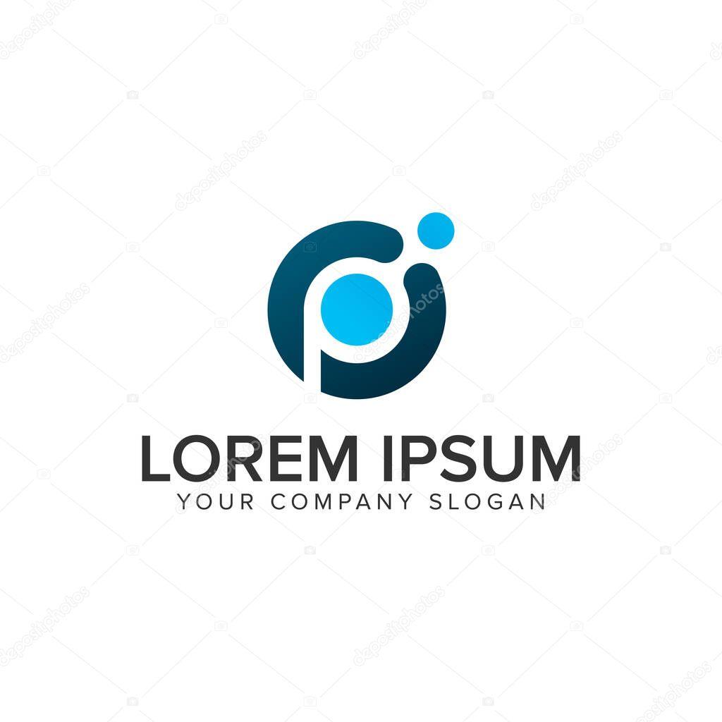 Letter P Dot Tech Logo Design Concept Template