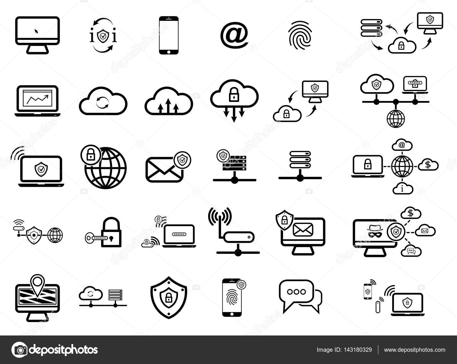 Простой набор иконок Интернет. Универсальный Интернет
