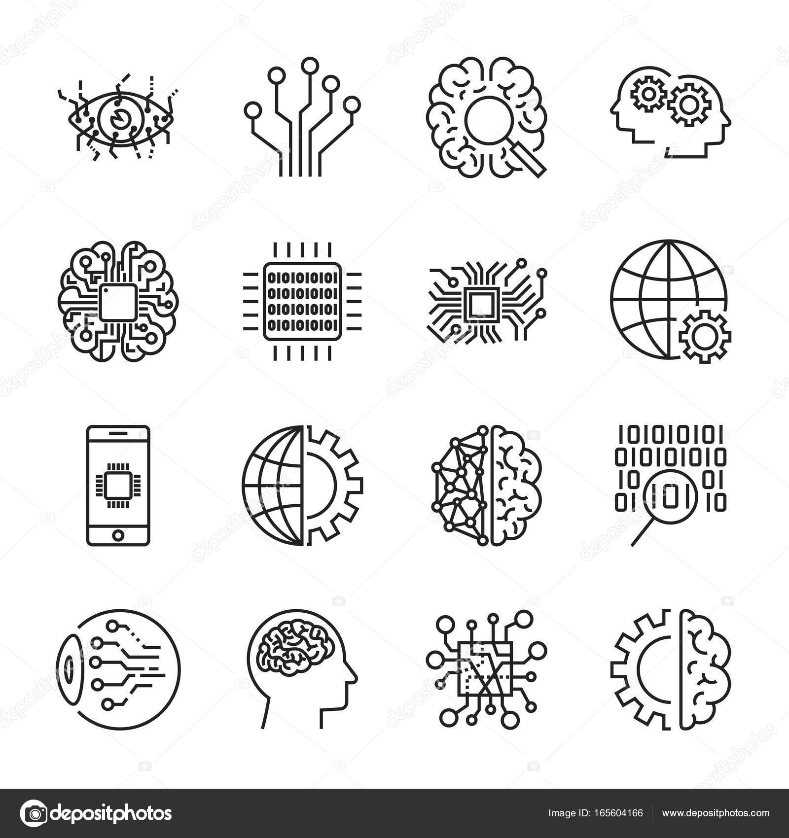 Artificial Intelligence. Vector icon set for artificial