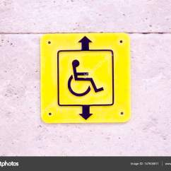 Yellow Wheelchair Diy Office Chair Elevator Sign For People In Stock Photo