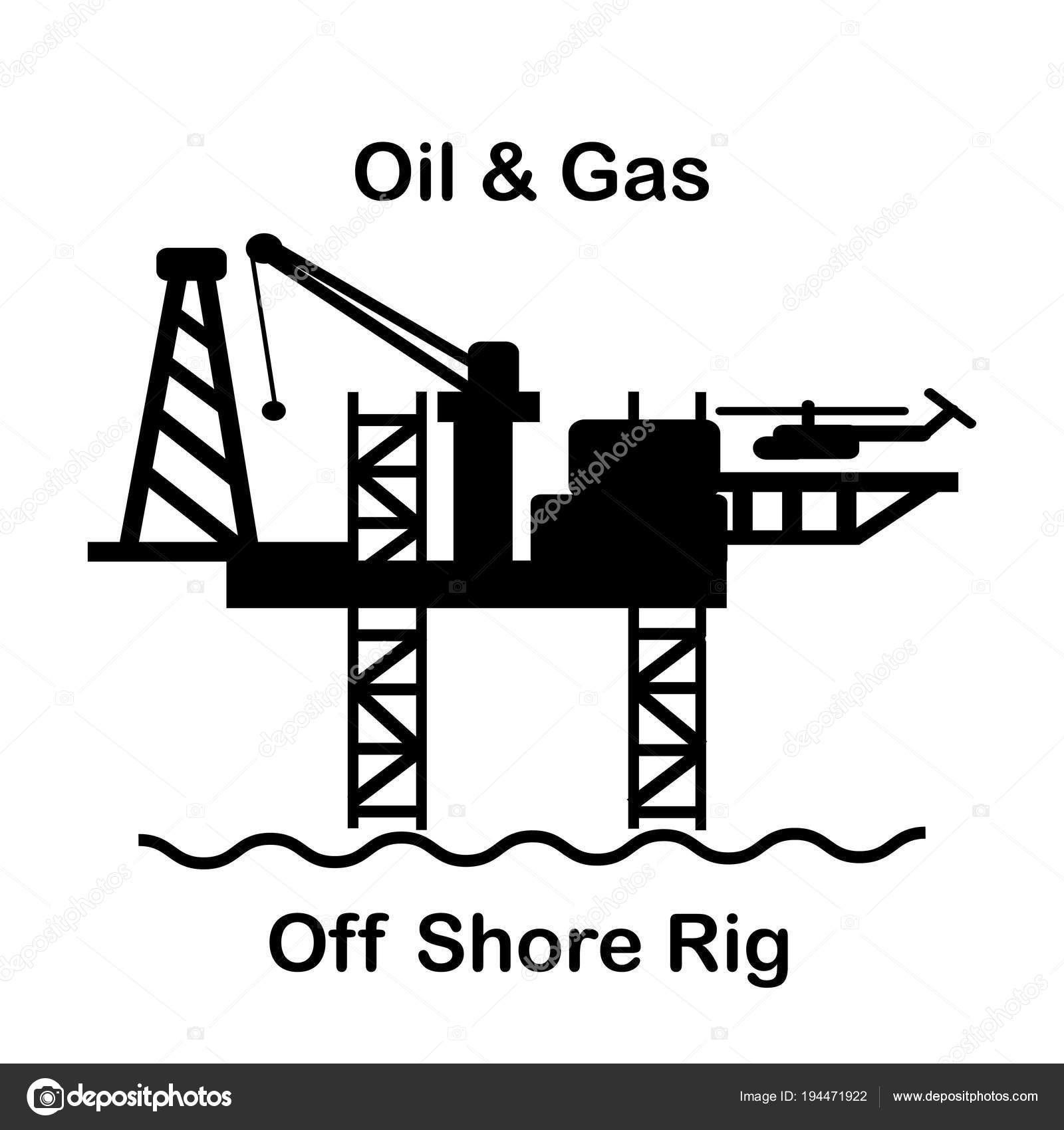 Vector Offshore Oil Amp Gas Drilling Rig Icon On Background