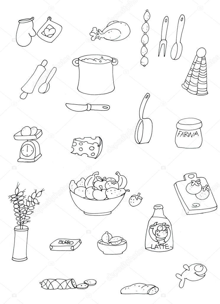 Dibujos De Para Colorear Objetos De Cocina Foto De Stock