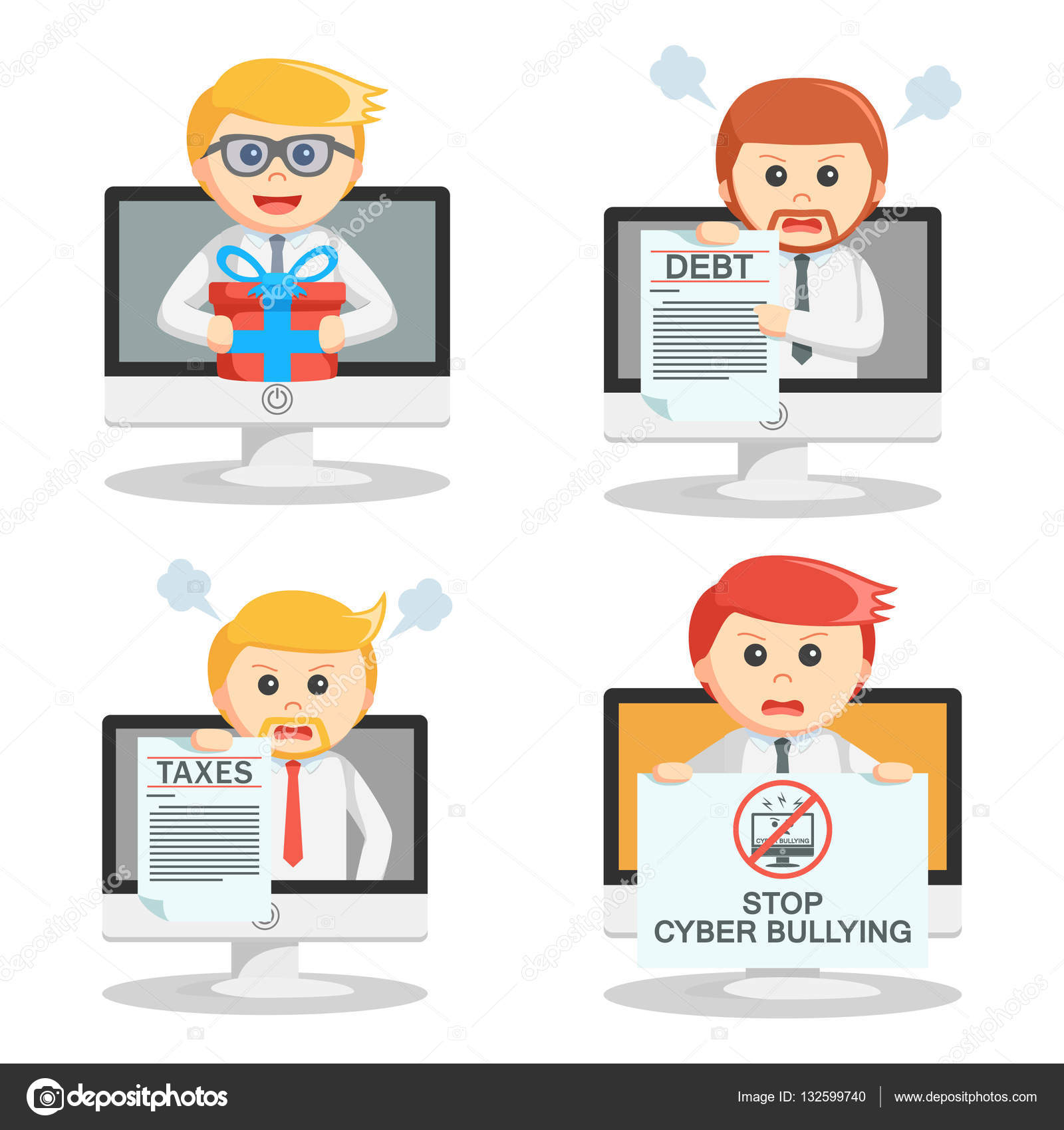 hight resolution of businessman pop up in pc set 2 stock vector
