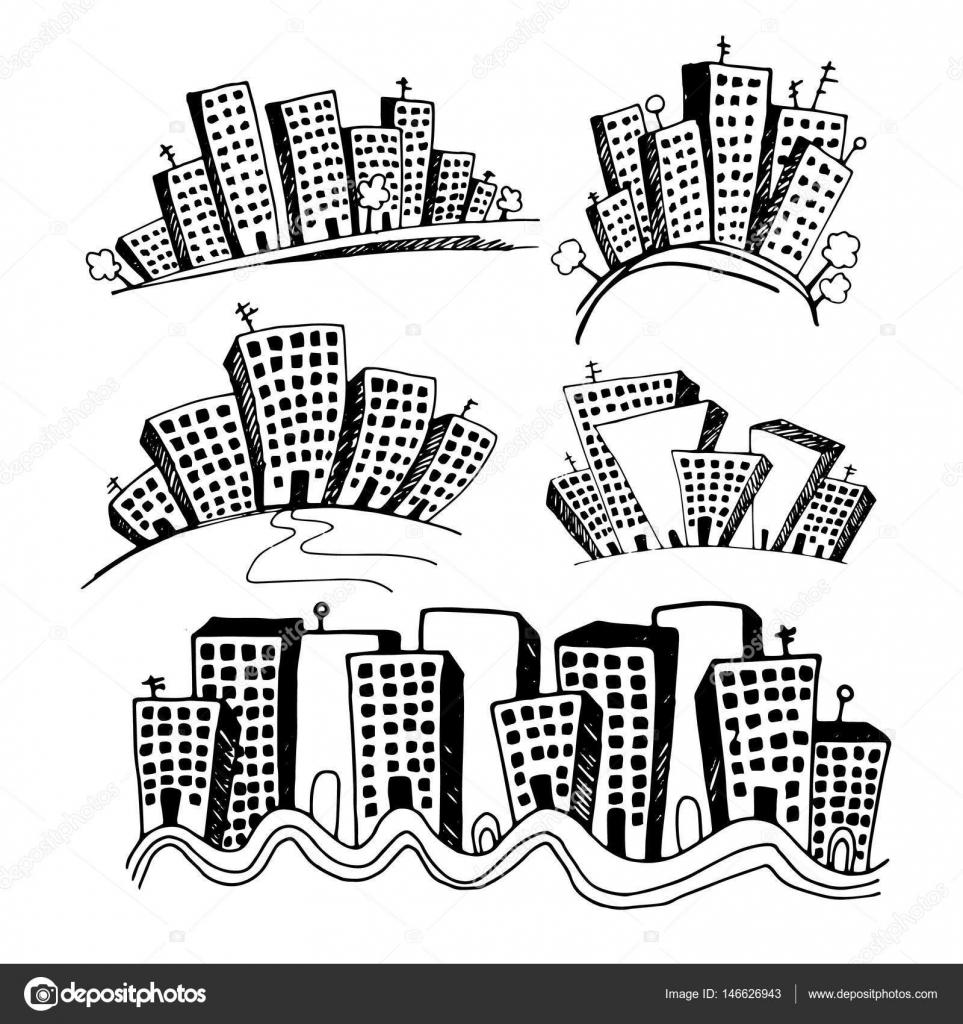 Vector menuiseries silhouette gratte-ciel toit de bâtiment