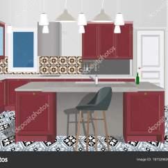 Burgundy Kitchen Decor Oil Rubbed Bronze Island Lighting 勃艮第厨房内部背景与家具 现代厨房设计 象征家具 厨房插画 图库矢量
