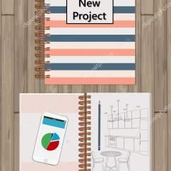 Kitchen Organizer Black Flooring Ideas 现实打开笔记本 模板模拟的组织者或日记隔离 水平内衬笔记本 带彩绘 带彩绘厨房 铅笔 电话的笔记本插图 矢量图片zuich Zpb