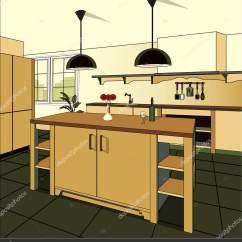 Burgundy Kitchen Decor Sink White 勃艮第厨房内部背景与家具 现代厨房设计 象征家具 厨房插画 图库矢量