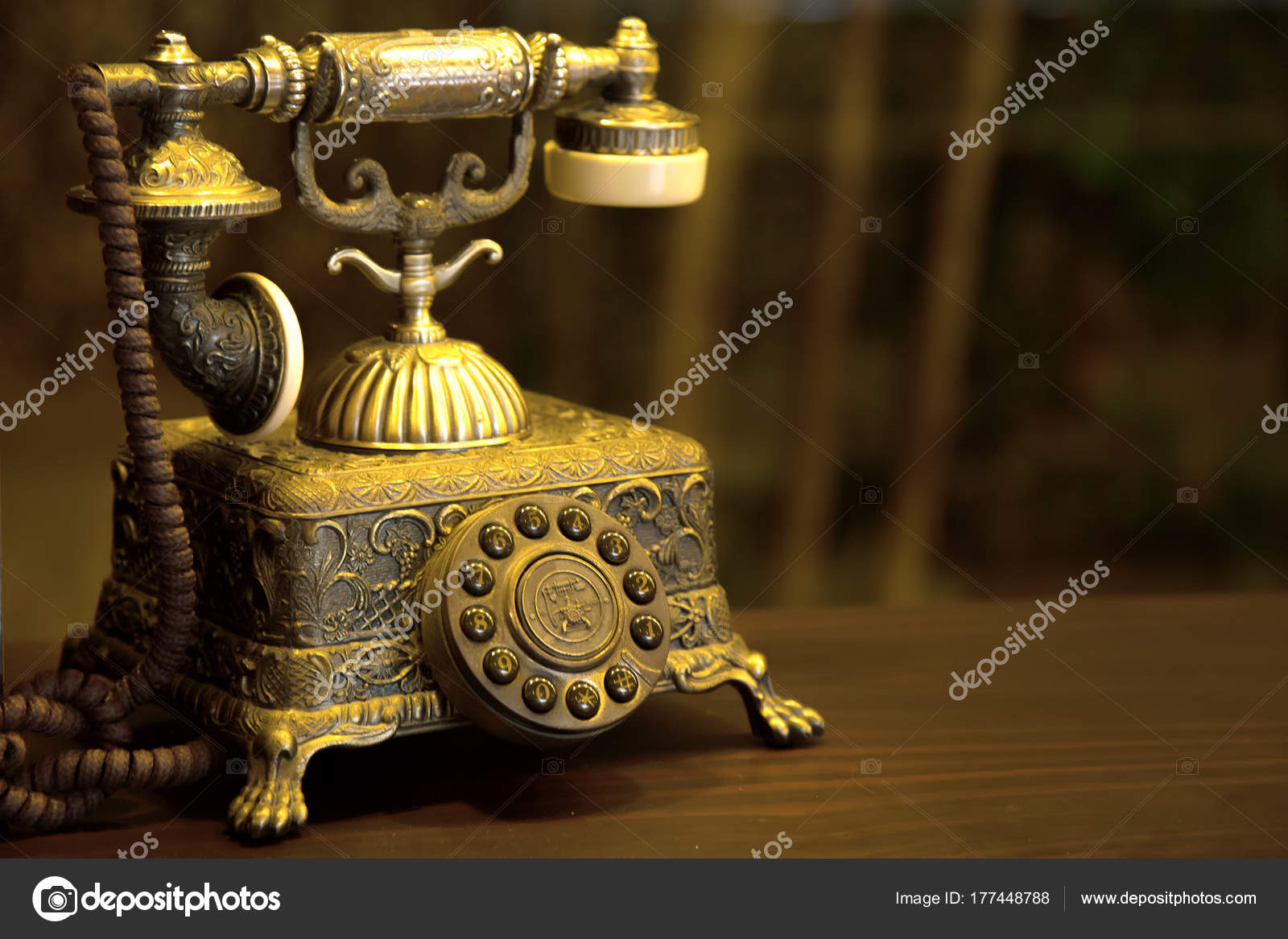 hight resolution of old phone antique phone table stock photo