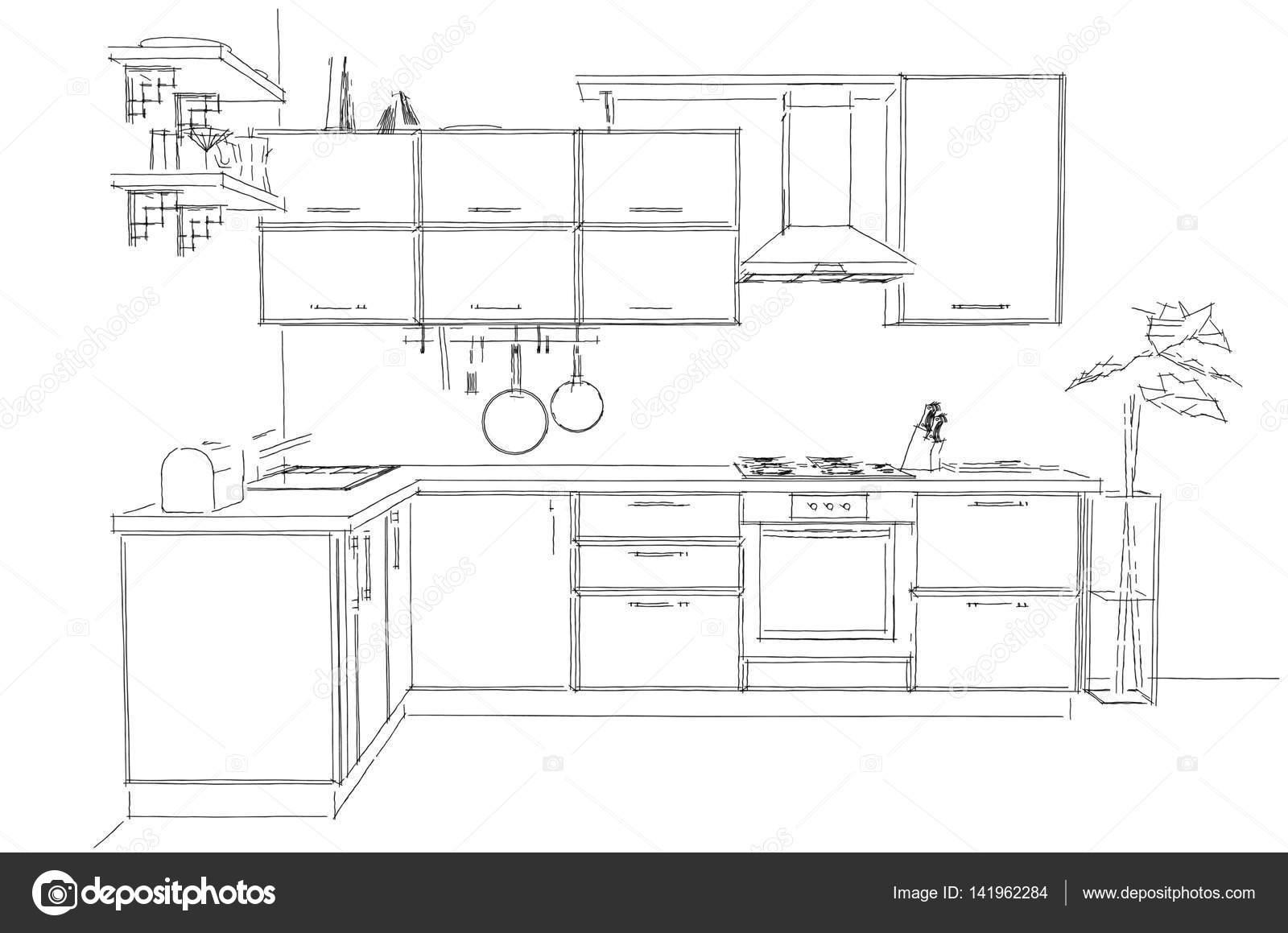 Modern Corner Kitchen Contour Sketch Black And White