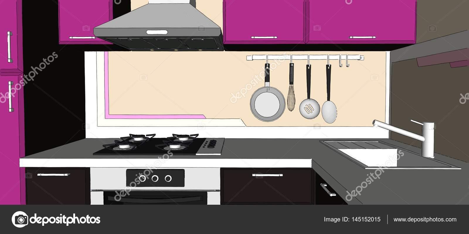 corner hutch kitchen unique canisters 淡紫色和棕色的角落厨房室内的素描插图 图库照片 c scale 08 mail ru