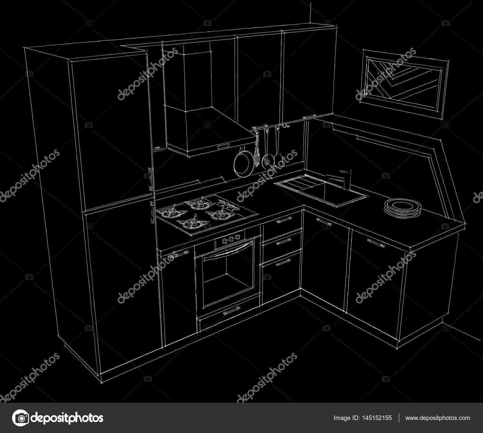 corner hutch kitchen french country chairs 黑色和白色手绘插画的小小的角落带内置冰箱的厨房 图库照片 c scale 08 黑色和白色手绘插画的小角落厨房与内置的冰箱 全景视图 照片作者scale mail ru