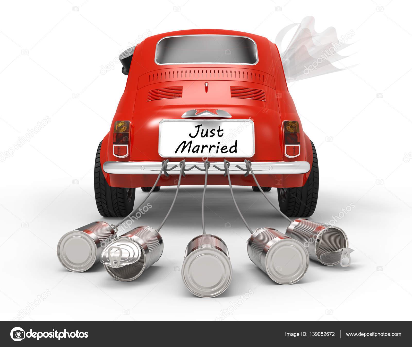 Just Married Auto auf wei  Stockfoto  tom19275 139082672