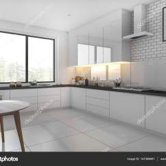 Small Kitchen Table Set Backsplash Ideas 3d 呈现白色小厨房和餐桌 图库照片 C Dit26978 147306691