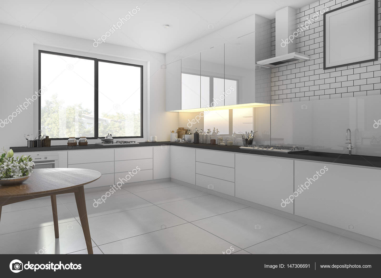 small kitchen table set booth plans 3d 呈现白色小厨房和餐桌 图库照片 c dit26978 147306691